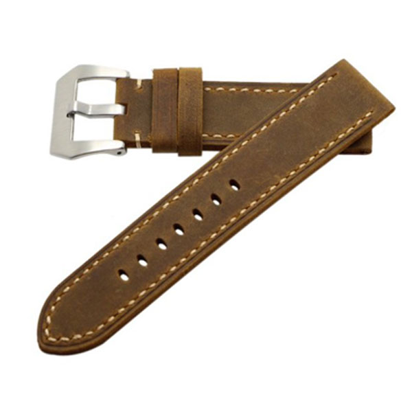 가죽 교체형 시계줄 밴드 Ritche 22mm Calf Leather Padded Vintage Watch Band Brushed Tang Buckle for Men