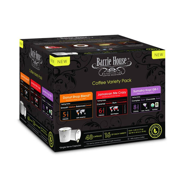 커피 캡슐 Barrie House Single Cup Capsules Variety Pack 16 Donut Shop Blend, 16 Jamaican Me Crazy, 16 FTO Sumatra