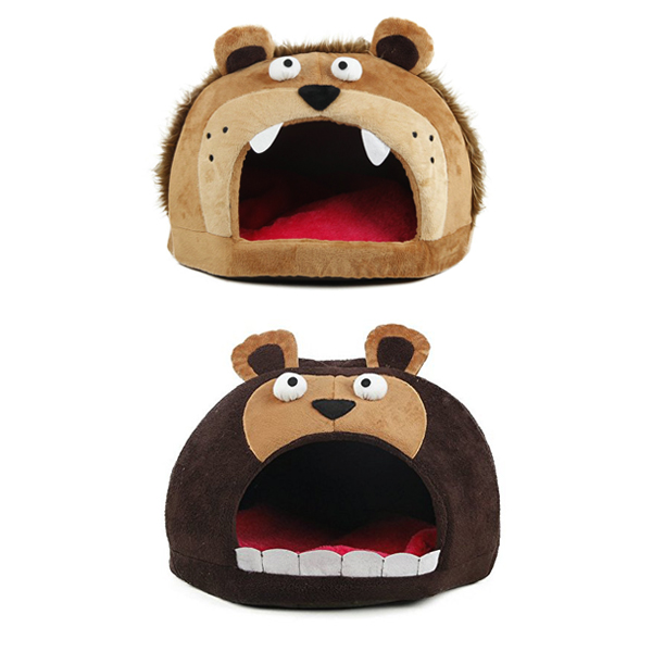 베어 스너글 펫 애완견 집 침대 Roar Bear Snuggle Plush Polar Fleece Pet Bed